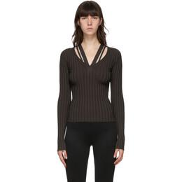 Helmut Lang Brown Strappy V-Neck Sweater K07HW712
