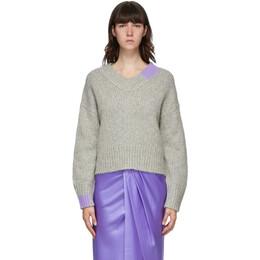Helmut Lang Grey Camel V-Neck Sweater K06HW701