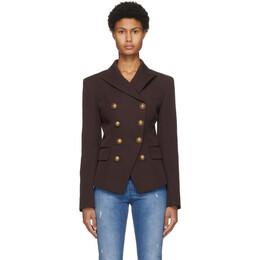 Balmain Brown Grain De Poudre 8-Button Jacket UF07118167L