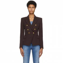 Balmain Brown Grain De Poudre 6-Button Jacket UF07110167L