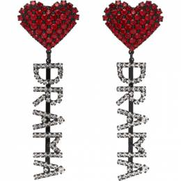 Ashley Williams Red and Transparent Drama Earrings AWAW20243