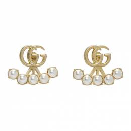 Gucci Gold Double G Pearl Marmont Earrings 629565 I4620