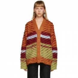 Y / Project Burgundy and Orange Mohair Striped Cardigan MPULL53-S19