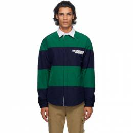 Dsquared2 Navy and Green Striped United Rugby Shirt S74DM0406 S47858