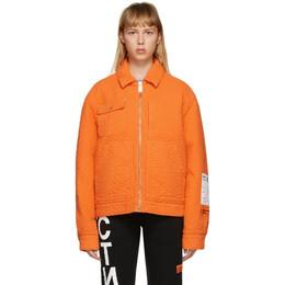 Heron Preston Orange Quilted Jacket HMEA052F20FAB0012200