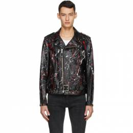 Schott Black and Red Leather Truth Jacket PER21