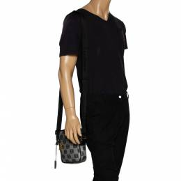 Loewe Grey/Black Coated Canvas and Leather Messenger Bag 329424