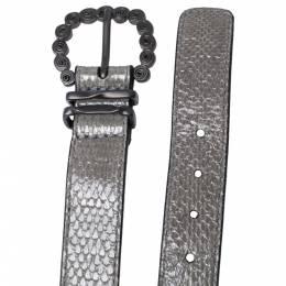 Bottega Veneta Grey Snakeskin Double Wrap Bracelet S 325915