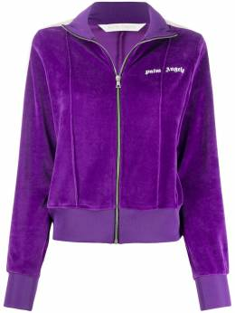 Palm Angels CHENILLE FITTED TRACK JACKET PURPLE WHI PWBD022F20FAB0023701