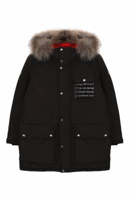 Пуховая куртка с меховой отделкой Moncler Enfant D2-954-42349-25-57244/4-6A