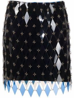 Paco Rabanne юбка мини с геометричными вставками 20AIJU140PS0240