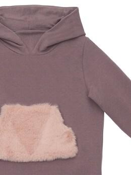 Hooded Cotton Sweat Dress W/faux Fur Il Gufo 72I8Z9147-NjEzMw2