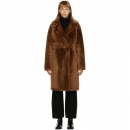 Yves Salomon Brown Fur Two-Tone Long Coat 21W21WYM65499MESI