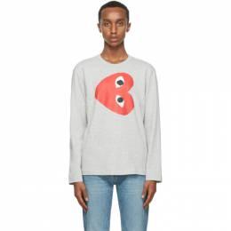 Comme Des Garcons Play Grey Horizontal Heart Long Sleeve T-Shirt P1T268