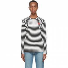 Comme Des Garcons Play Black Stripe Double Heart Long Sleeve T-Shirt P1T164