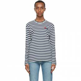 Comme Des Garcons Play Navy Stripe Double Heart Long Sleeve T-Shirt P1T228