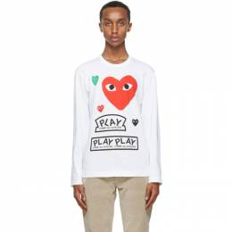 Comme Des Garcons Play White and Red Multi Logo Long Sleeve T-Shirt P1T284