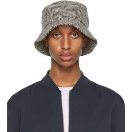 Officine Generale Black and White Houndstooth Bucket Hat W20MACC879