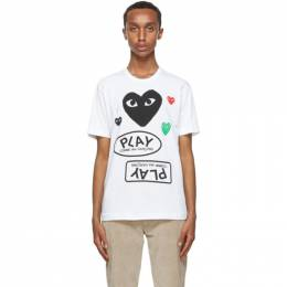 Comme Des Garcons Play White and Black Multi Logo T-Shirt P1T282