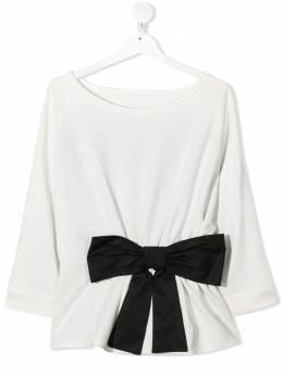 Elisabetta Franchi La Mia Bambina блузка с длинными рукавами и бантом EFFE72FE158ZE009