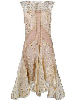 Alberta Ferretti расклешенное платье с эффектом металлик A042416431002