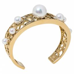 Aigner Faux Pearl Crystal Gold Tone Open Cuff Bracelet 329690