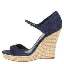 Dior Blue Suede Espadrille Platform Wedge Open Toe Ankle Strap Sandals Size 39 329349