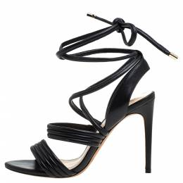 Alexandre Birman Black Leather 'Aurora' Strappy Ankle Wrap Sandals Size 38 329606