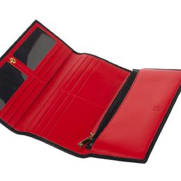 Carolina Herrera Black Studded Leather Trifold Continental Wallet 329739