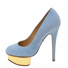 Charlotte Olympia Light Blue Suede Dolly Platform Pumps Size 36 330647
