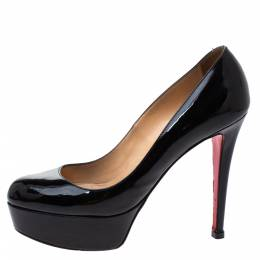 Christian Louboutin Black Patent Leather Bianca Platform Pumps Size 37 331434