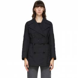 Mm6 Maison Margiela Navy Crushed Wool Trench Coat S32AH0067 S53285