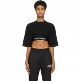 Palm Angels Black Cropped Logo T-Shirt PWAA002F20JER0011001