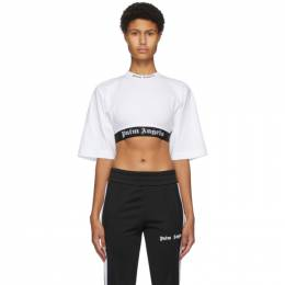 Palm Angels White Cropped Logo T-Shirt PWAA002F20JER0010110
