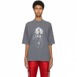 Palm Angels Grey Woman T-Shirt PMAA059F20JER0011001