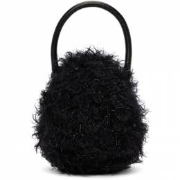 Simone Rocha Black Metallic Mini Handheld Egg Bag BAG91 0028 Tinsel Fur