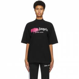 Palm Angels Black Hong Kong Sprayed Logo T-Shirt PWAA017F20JER0021032