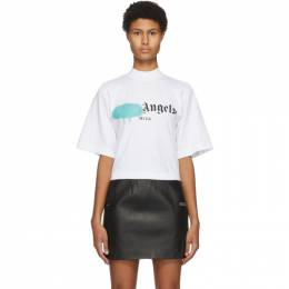Palm Angels White Ibiza Sprayed Logo T-Shirt PWAA020F20JER0020147