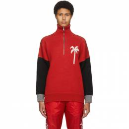 Palm Angels Red Wool Jacquard PXP Turtleneck PWHE011F20KNI0012501