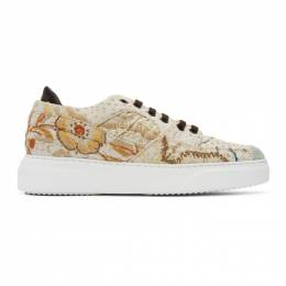 By Walid Beige Embroidered Sneakers C290294M