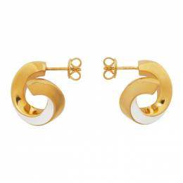Bottega Veneta Gold and White Hoop Earrings 639535 VAHU4