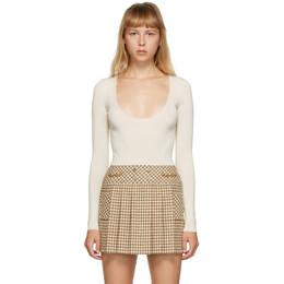 Gucci Off-White Cashmere GG Bodysuit 631470 XKBHR