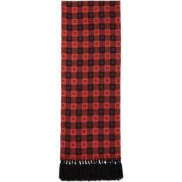 Gucci Red and Black Wool G Check Scarf 633990 4GB21