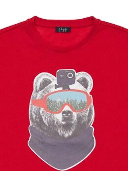Bear Print Cotton Jersey T-shirt Il Gufo 72I8ZC037-Mzc0OQ2