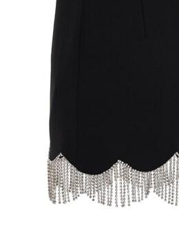 Bonded Mini Dress W/ Crystal Fringe Area 72I6HG005-QkxBQ0sgLyBDTEVBUiBC0