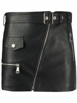 Manokhi leather mini skirt AW20MANO89A323BIKER1BLACK