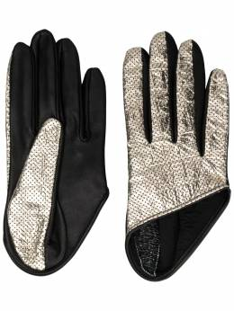 Manokhi short perforated gloves AW20MANO247A3BLACKSILVEREMBOSSED
