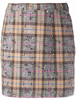 Alessandra Rich fitted tweed check skirt FAB1441F2947