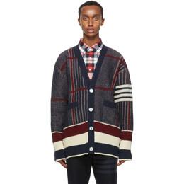 Thom Browne Navy Wool Oversized 4-Bar Cardigan MKC302A-01085