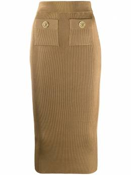 Balmain high-waisted knit skirt UF04488K201